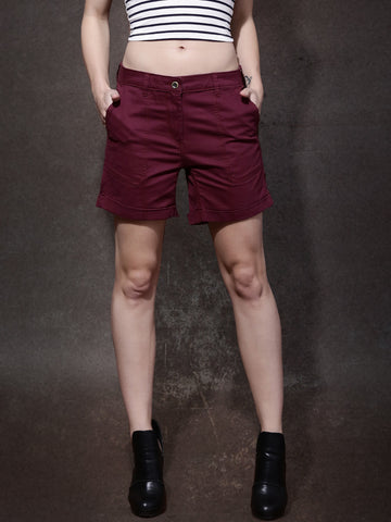 Women-Burgundy-Solid-Regular-Fit-Shorts-Women-Western-Wear