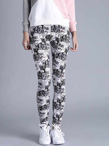 Black & White Color Printed Leggings For Women LS28