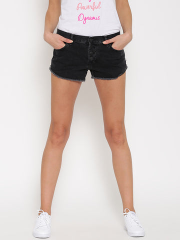 FOREVER-21-Women-Grey-Washed-Denim-Shorts-Women-Western-Wear