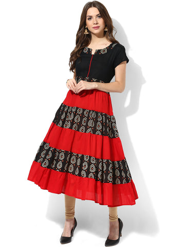 Designer Long Anarkali Kurtis Black & Red Bandhini Print Anarkali Kurta