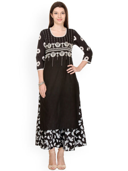 Urban-Naari-Black-Colored-Designer-Cotton-Blend-Printed-Stitched-Kurti