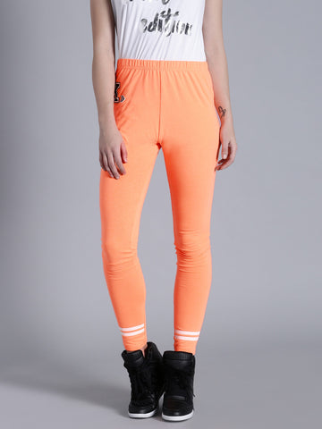 Orange Color Viscose Leggings For Girl LS22