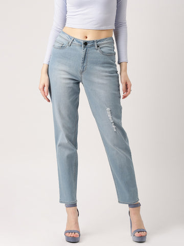 Women-Blue-Boyfriend-Fit-Low-Distress-Jeans