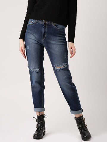 Women-Jeans-Blue-Boyfriend-Fit-Mid-Rise-Low-Distress-Jeans