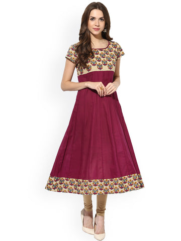 Casual Anarkali Kurtis Kurtas Burgundy Anarkali Kurta With Printed Work