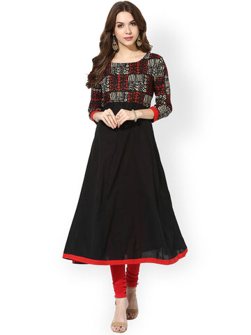 Black Color Cotton Long Anarkali Kurtis Kurtas Printed Ladies Anarkali Kurtis