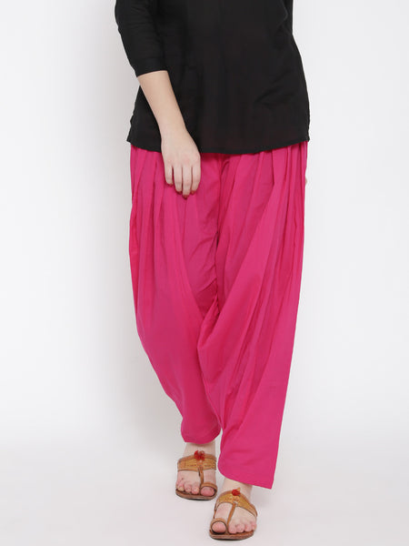 Pink Patiala With Pleats Plain Patiala For Girl LS44