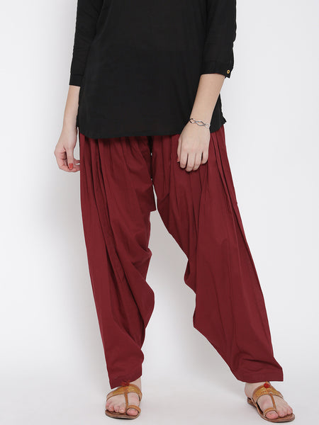 Maroon Color Cotton Patiala Salwar Casual Wear Plain Patiala LS45