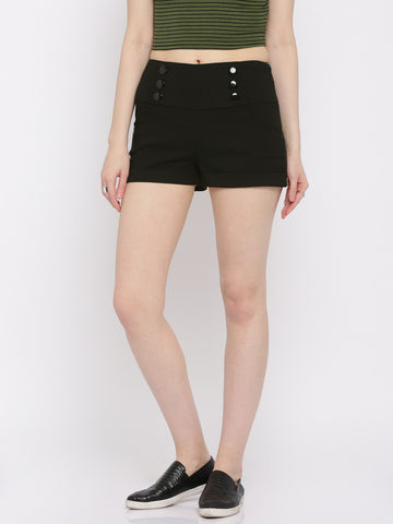 Black-Color-Women-Shorts-Women-Western-Wear