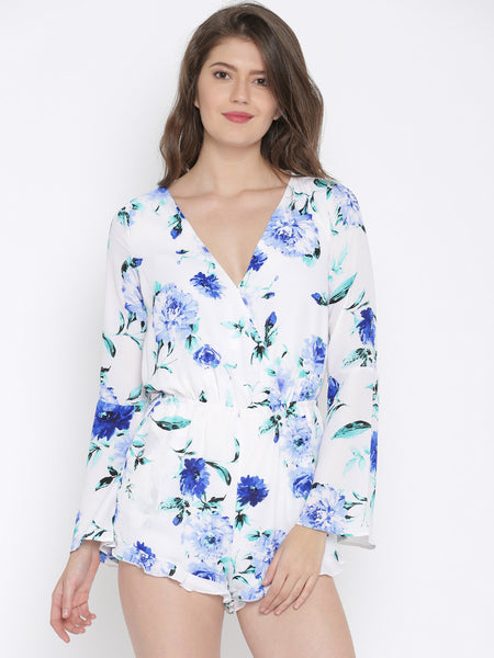 Stylish Rompers White & Blue Floral Print Romper