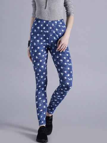 Blue Color Star Print Leggings Designer Printed Leggings LS24