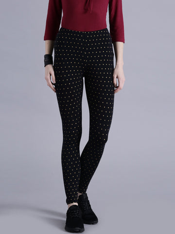 Designer Black Color Yellow Dots Print Stylish Printed Leggings LS25