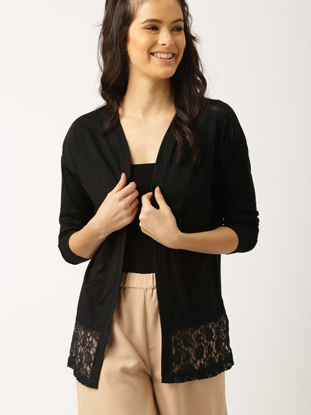 Black Partywear Polyester Shrug With lace Work For Women
