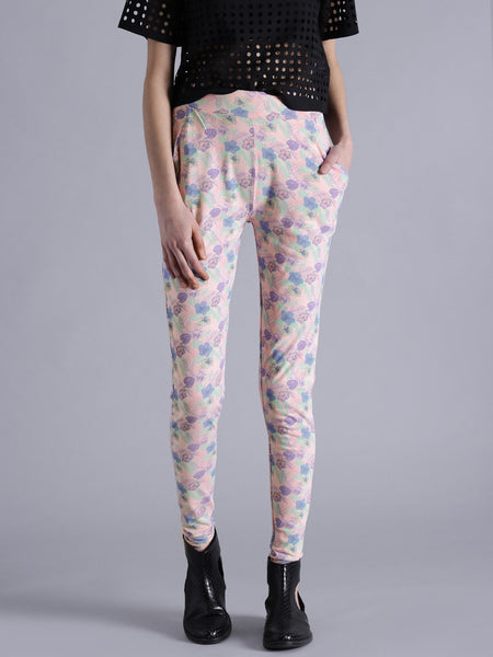 Designer Printed Leggings Pink Color Flower Print Leggings LS19