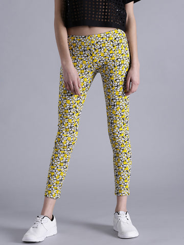 Designer Cotton Leggings Yellow & White Color Printed Leggings LS27