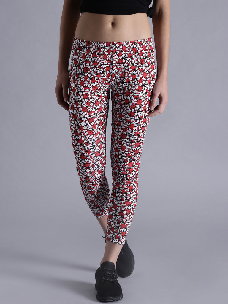 eaf6b48566a195 Designer Cotton Leggings Red & White Color Printed Leggings – Lady India