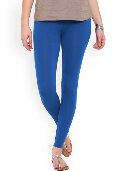 Cotton Knitted Leggings Sky Blue Slim Fit Ankle-Length Leggings LS15