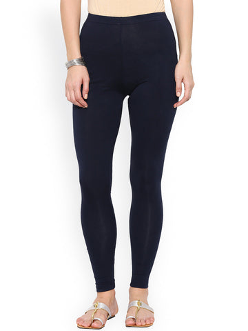 Slim Fit Ankle-Length Leggings Navy Color Cotton Knitted Leggings LS12