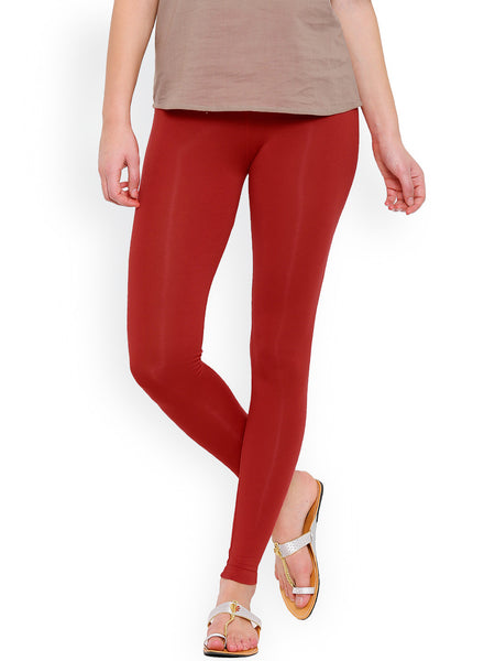 Slim Fit Ankle-Length Leggings Maroon Color Cotton Knitted Leggings  LS16