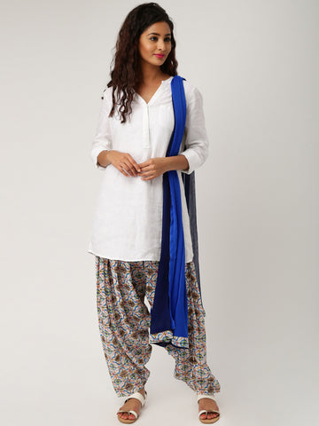Printed Patiala Dupatta Set White & Navy Color Patiala and Dupatta LS68