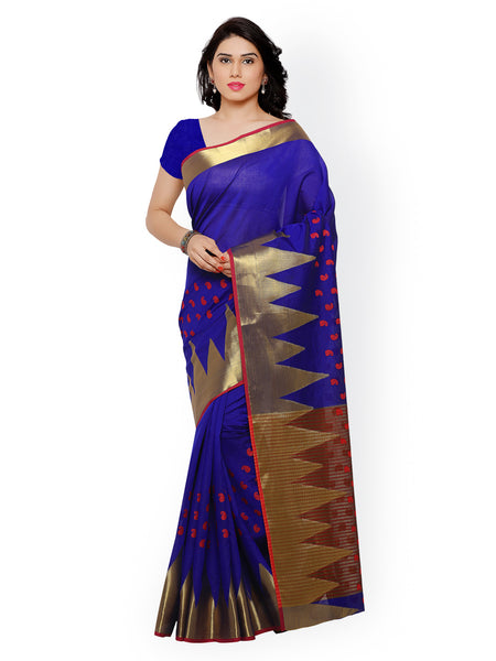 trendy-blue-color-chanderi-silk-sarees-with-golden-border-work