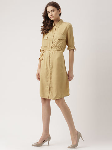 khaki-plain-both-side-pocket-shirt-dress-online-designer-dresses-for-women