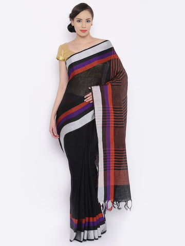 traditional-black-bhagalpuri-handloom-sarees-with-four-colors-border-&-stripes-design-pallu-work
