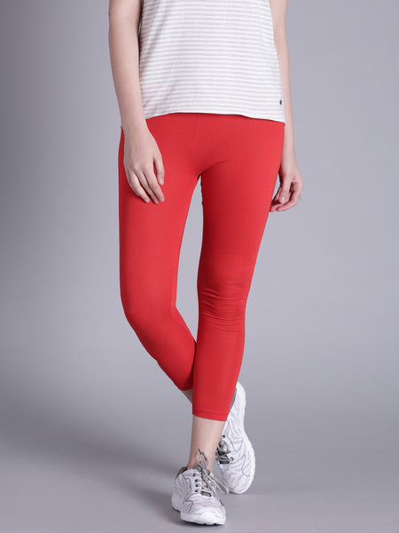 Summer Cropped Leggings Red Color Women's Cropped Leggings LS74