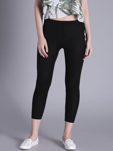Printed Cropped Leggings Black Cropped Leggings LS73