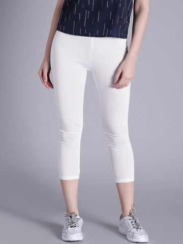 White Cropped Leggings Summer Cropped Leggings LS71