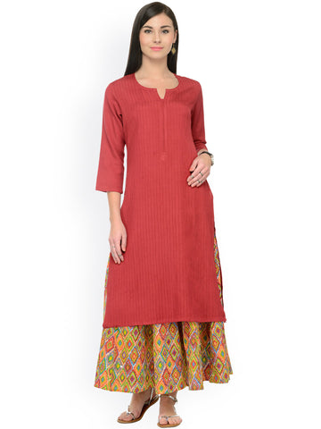 Palazzo With Kurta Red & Multi Colored Long Rayon Kurtis Plain Kurti With Plazo