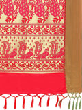 Red & Pink Kanjeevaram Art Silk Traditional Saree Bird Print Design Silk Saree