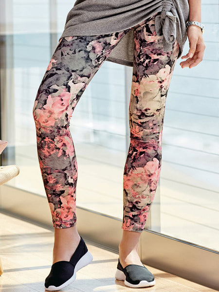 Printed Leggings Pink & Black Color Flower Print Leggings LS32