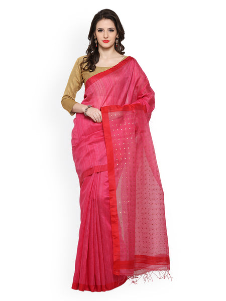 designer-pink-handwoven-cotton-sarees-handwoven-silk-sarees-with-tiny-booti-and-red-lace-border