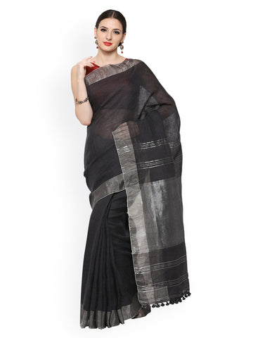 plain-handwoven-sarees-black-solid-handwoven-cotton-sarees-with-silver-border-work