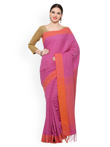 handwoven-printed-saree-pink-color-solid-border-with-tassels-pallu-handwoven-silk-sarees