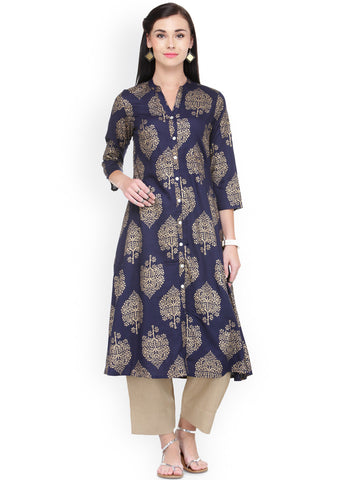 Designer Partywear Palazzo With Kurta Blue & Beige Color Rayon Printed Long Kurti With Palazzo