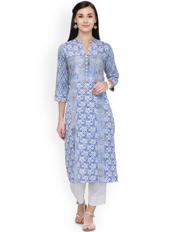 Blue & White Colored Printed Long Kurta And Palazzo Rayon Printed Kurti With Plazo