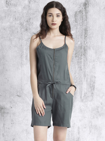 Stylish Grey Rompers Sleeveless Romper