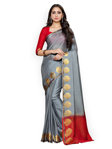 Designer Silk Crepe Saree Golden Paisleys Design Border Saree With Blouse Piece