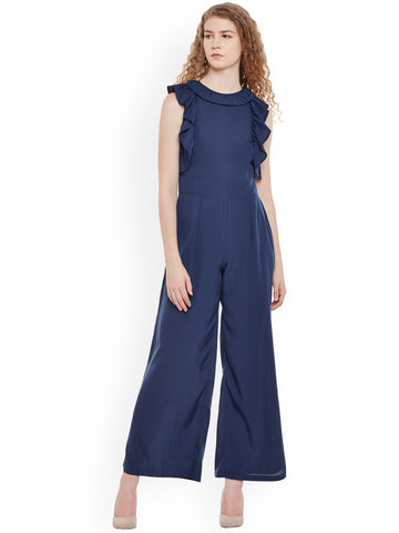 Navy Blue Color Sleeveless Jumpsuit With Ruffle Design