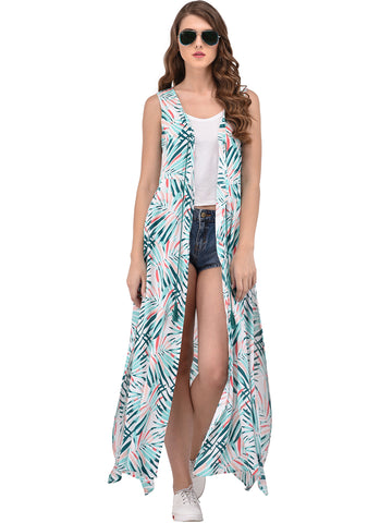 tropical-print-longline-shrug-green-&-white-sleeveless-shrugs-designer-cape