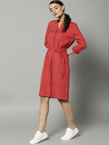 designer-full-sleeves-red-solid-shirt-dress-online-designer-dresses