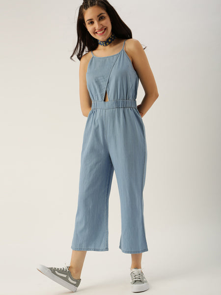 Latest Jumpsuits Blue Color Sleeveless Cotton Jumpsuit