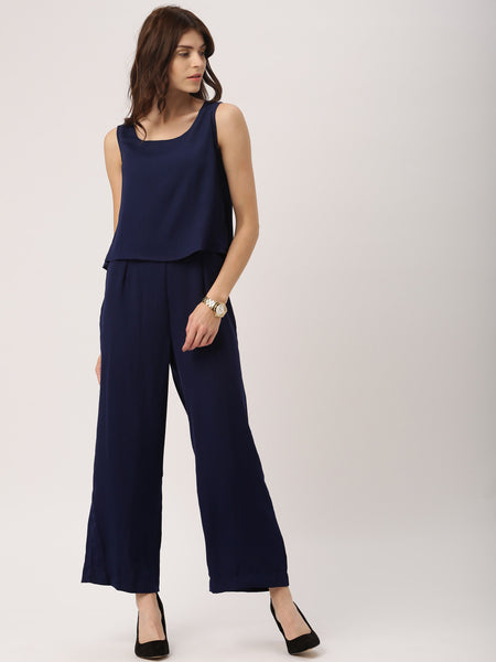 Jumpsuits Online Navy Blue Colored Layered Jumpsuit