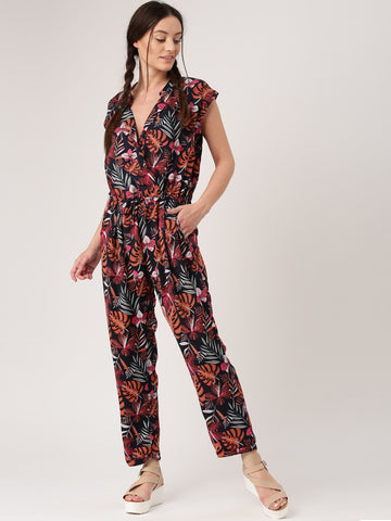 Casual Jumpsuits Navy & Orange Color Printed Jumpsuits