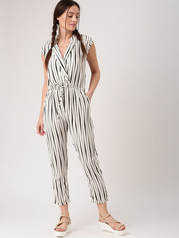 Trendy Off White & Black Striped Jumpsuit For Women