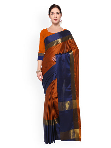 Silk Sarees - Orange & Navy Blue Art Silk Color Blocked Saree