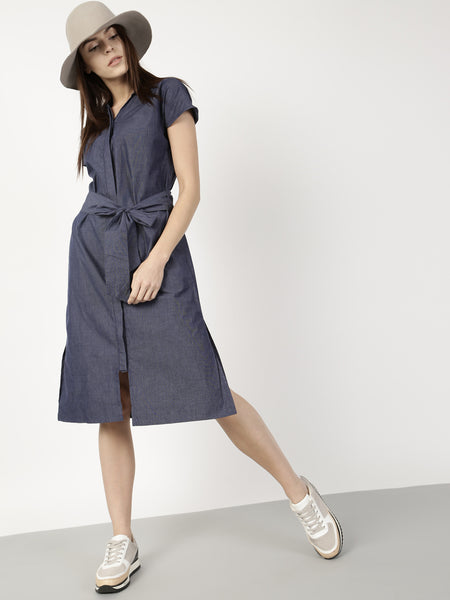 navy-blue-denim-plian-shirt-dress-front-knot-style-designer-dresses-online