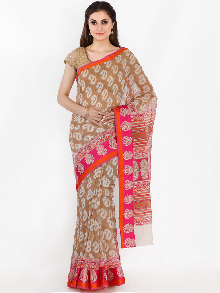 3fbb6836f8d Online Shopping Pure Chanderi Silk Brown And Pink Chanderi Cotton Saree –  Lady India
